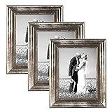 3er Set Bilderrahmen 20x30 cm Silber Barock Antik Massivholz mit Glasscheibe und Zubehör / Fotorahmen / Barock-Rahmen