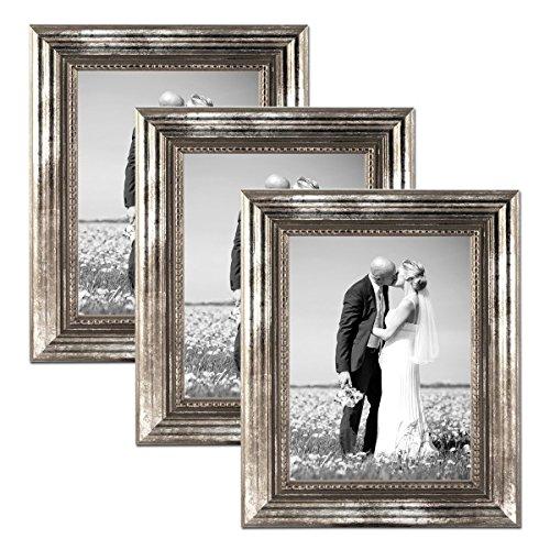 Juego de 3 marcos 20x30 cm plata barroca, antiguo, madera maciza con cristal y accesorios / marco de fotos / marco barroco