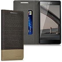 kwmobile Funda Flip Case para Sony > Xperia Z5 Premium < - Funda protectora Bookstyle de polipiel y tela en antracita marrón