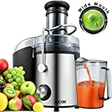 Extracteur de jus, Aicok Centrifugeuse des Fruits et des Légumes, 800W Machine à jus,75mm Machine Centrifuge à Grand Bouche, Avec brosse de Nettoyage pour Extracteur des Fruits et des Légumes, Acier Inoxydable