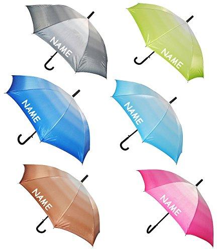 "1 Stück _ Automatik - Regenschirm - "" einfarbig - Batik - Regenbogen "" - incl. Name - ø 110 cm - Schirm - Stockschirm für - Damen - Erwachsene - Frauen - Partnerschirm - einfarbige Automatikschirm groß / sturmfest - Regenschirme"