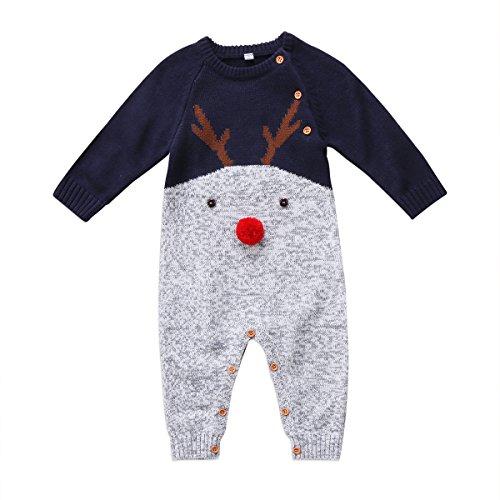 vpuquuz Neugeborenes Dickes Weihnachten Overall Gestrickten Pullover für Kleinkind Baby Junge Mädchen Hirsch Warme Winter Outfits Kleidung Strampler (B, 0-6M)