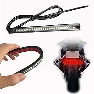 OFKPO Feux de Freinage à LED, Barre Lumineuse Universelle de Moto bande LED Flexible Lumière Freins Clignotant Arrière Lumière Plaque Minéralogique