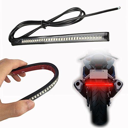 OFKPO Motorrad Endstück LED Rücklicht Streifen,Signal Licht Streifen Wasserdichtes 48SMD Universal Licht