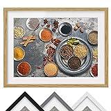 Bilderwelten Póster Enmarcado - Shabby Spice Plate - Color de Marco Madera de encina 70x100cm