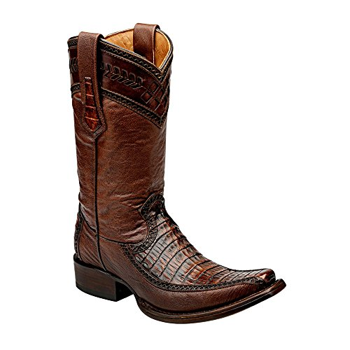 Cuadra Crocodile Leather Cowboy Boots for Men Forest Ocre