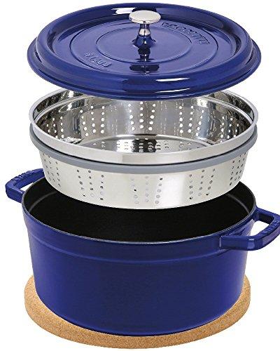 Staub Cocotte/Cocotte Rond avec panier vapeur (26cm, 5L, induction, avec mattschwarzer Fonte de l'intérieur du pot) Bleu foncé & Liège magnétique Soucoupe pour pot de fleurs 24cm
