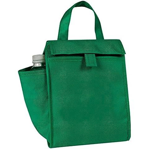 Eunichara eGreen Lunch Bag w/Bottle Pocket 90G Non Woven Polypropylene - Forest Green by Eunichara