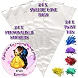 24 Personalised Beauty And The Beast Do It Yourself Sweet Cones Birthday Party Bags D2
