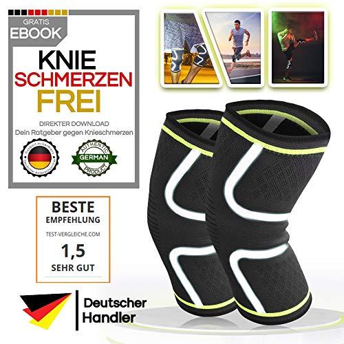 ULIMIT® 2X Reflektierende Kniebandage, Tags und Nachtsüber gut gesehen Werden - geeignet bei Knieproblemen gibt sie rutschfesten Halt als Stütze zum Arbeiten, Joggen, Wandern, Laufen und Sport
