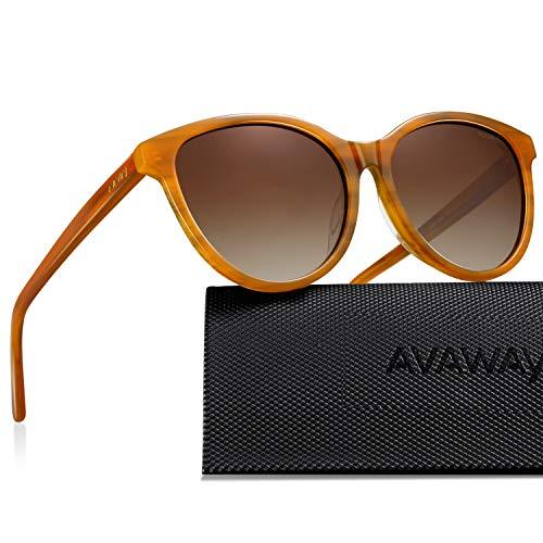 AVAWAY Retro Polarisierte Damen Sonnenbrille UV400 Schutz Brille für Fahren Laufen Outdoor Reisen Wandern, Acetat Rahmen