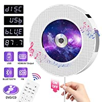 ‏‪CD Player HOMEOW Wall Mountable CD DVD Player with Bluetooth Portable CD/DVD Player Home Audio Boombox Remote Control HDMI for TV Built-in Speakers FM Radio USB AV Jack for Music Home Car Casual Time‬‏