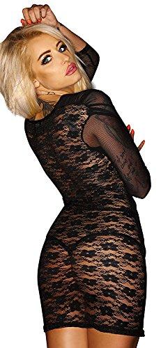 Noir Handmade Clubwear erotisches Damen-Kleid aus Tüll Reizwäsche Schwarz
