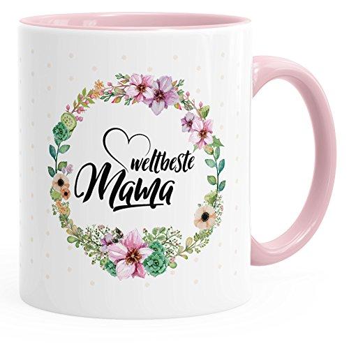 MoonWorks Geschenk-Tasse Weltbeste Mama Geschenk für Mutter Muttertag Tasse mit Blumen und Innenfarbe Rosa Unisize