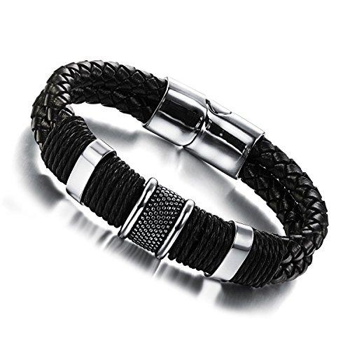 Wowl Magnetschnalle echtes Leder-Armband mit Edelstahl 316L für Männer Frauen