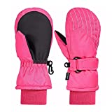 Andake 3M Thinsulate Futter, warm Wasserdichte atmungsaktive Membran, Fäustlinge Thermo Handschuhe Winterhandschuhe Kinderhandschuhe Skihandschuhe Baby Kinder Jungen Mädchen, Pink, 5-7Y