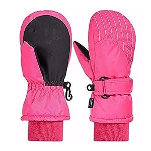 Andake 3M Thinsulate Futter, extrem warm, Wasserdichte atmungsaktive Membran, Fäustlinge Thermo Handschuhe Winterhandschuhe Kinderhandschuhe Skihandschuhe Baby Kinder Jungen Mädchen Pink Schwarz