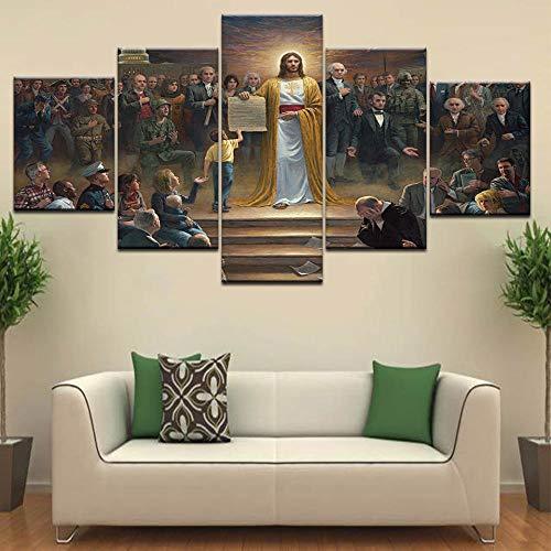 Yyjyxd 5 Panel Jesus Rückkehr zur Erde Digitaldrucke Leinwand Malerei Christian Religion für Wandkunst Wohnzimmer Dekoration Poster-4x6/8/10inch,Without frame