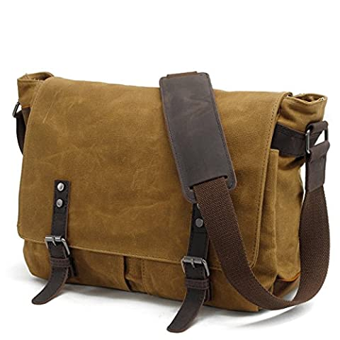 Y-DOUBLE Waterproof Canvas Unisex Vintage Canvas Genuine Leather Messenger Bag Travel Briefcase Crossbody Satchel Shoulder Bag Fits 14 inch Laptop