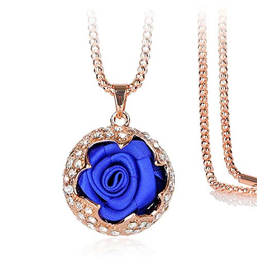 KFYU Rosette Legierung Diamant Lange dekorative Halskette Frauen Kleidung Pullover Kette blau - Rosette Nickel