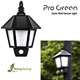 Progreen Lámpara solar, PIR Sensor de Luces Humana, Adecuado para Patio, Jardín, Villa, Parque,etc