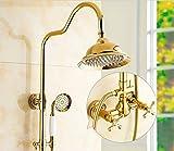 Doccia dorata in stile europeo impostata tutta l'asta dell'acquazzone di sollevamento del rame calda e fredda dell'acqua, C