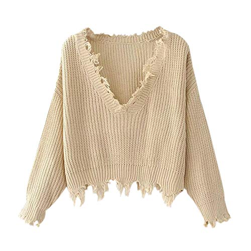 ZAFUL Women's Casual Long Sleeve Loose Knitted Jumper Sweater Pullover Winter Top Outwear(Khaki)