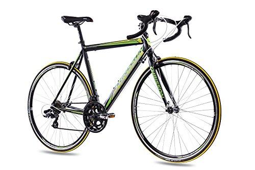 """28\"""" Zoll ALU RENNRAD FAHRRAD CHRISSON FURIANER mit 14G SHIMANO A070 schwarz grün matt, Rahmengröße:53 cm"""