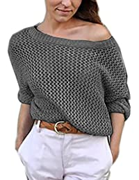 Mikos Modischer Oversize Pulli Pullover Strick Tunika Sexy Schulterfrei  Damen Pullover Pulli Lose Jumper S  4886ed745e