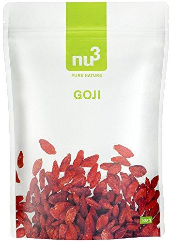 nu3 Premium Goji Beeren | 500g Beutel | Superfood-Beeren zum Naschen | Gojibeeren ungeschwefelt und schonend getrocknet | passend zum Frühstück | stärkt das Immunsystem | mit vielen Vitaminen | auch als Snack für Sportler