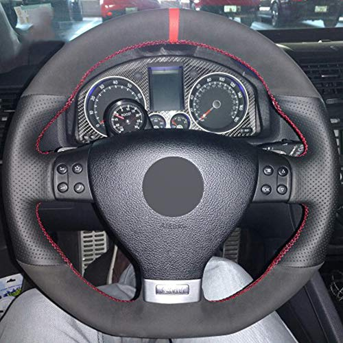 ZYTB Per BlackDIY Coprivolante per Volkswagen Golf 5 Mk5 GTI VW Golf 5 R32 Passat R GT 2005,Dark Brown Thread