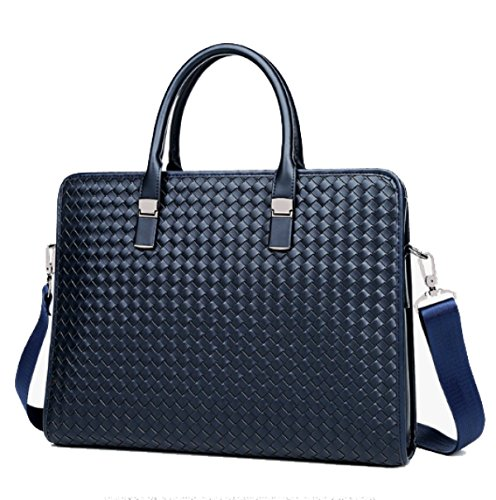 BULAGE Man Tasche Mode Handgewebt Handgehaltenen Leder Lässig Schulter- Messenger Arbeitsplatz Atmosphäre Verfeinerter Blue