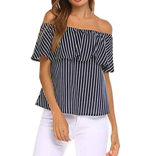 Sanahy Damen Streifen Patchwork T-Shirt, Rüschen Top Bluse Cold Shoulder Retro LoseKurzarmshirt, Sexy Confortable Lässige Bequeme Shirt T -