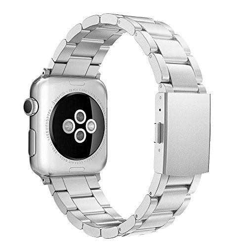 Simpeak Correa Compatible con Apple Watch Series 5/ Series 4/Series3/ Series 2/ Series 1 Correa 38mm de Acero Inoxidable Reemplazo de Banda Corchete 38mm, Plata