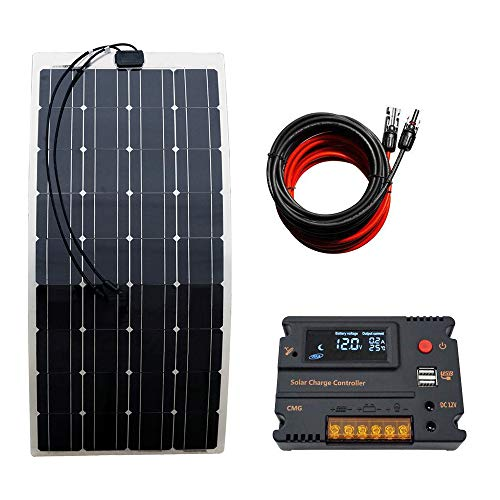 ECO-WORTHY 100 Watt monokristallin, biegbar, leicht, Solarmodul-Set für Wohnmobil, Boot, Kabine, Zelt, Auto, Anhänger, 12 V Batterieladung