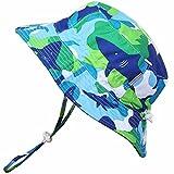 Cappello di Protezione solare Bambino piccolo 50+,idrorepellente,misura adattabile con sottogola a strappoq (M: 6-18mesi, Verdesca)