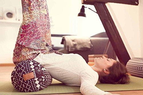 on feet images of vast selection best sell Rectangular yoga bolster »Paravati« with organic spelt hull ...