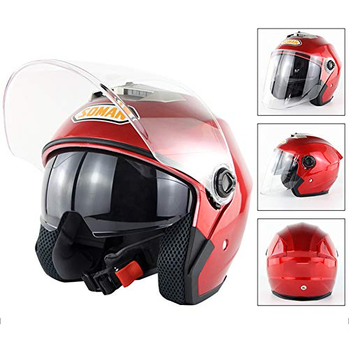 Half Helm Light ABS Motorcycle Helm Vier Jahreszeiten Männer und Frauen Anti-Fog Double Lens Helm Lining Washable Cycling Helmet1,L