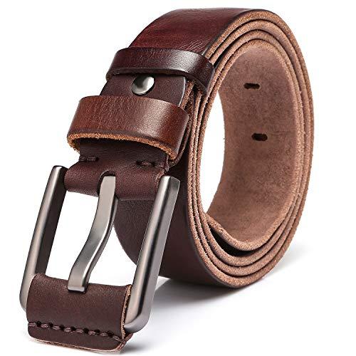 KeeCow Gürtel Herren Ledergürtel aus Echt Büffelleder für Männer Business Anzug Jeans Gürtel Verstellbar kürzbar Echtleder in Schwarz und Braun