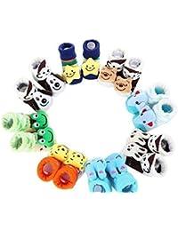 EIO® 100% Soft Cotton Fancy Cartoon Face Booties Socks (Random Design/Color) (Pack of 6)
