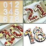 Footprintse 8 pulgadas de pastel de gel de sílice molde digital números de la torta forma decoración de la torta de cocina postre herramienta número 0-9 un conjunto de color: rojo