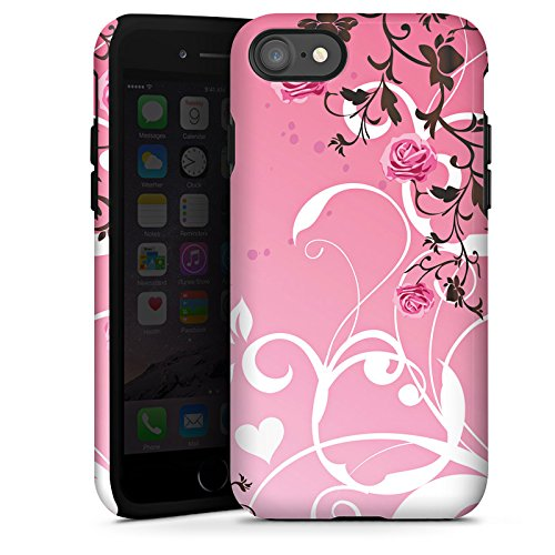 Apple iPhone X Silikon Hülle Case Schutzhülle Rosen Muster Pink Tough Case glänzend