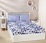 #4: Amazon Brand - Solimo Leafy Spring 144 TC 100% Cotton Double Bedsheet with 2 Pillow Covers, Blue