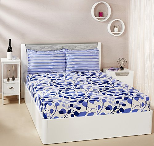 Solimo Leafy Spring 144 TC 100% Cotton Double Bedsheet with 2 Pillow...