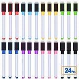 24 pennarelli magnetici cancellabili a secco, per lavagna bianca, 8 colori assortiti, con tappo per cancellare, per casa, scuola, lavoro e ufficio