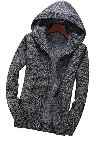 Fanhang Men's Hoodie Cardigan Knitwear With 2 Side Pocket And Fake Fur lining Dunkelgrau