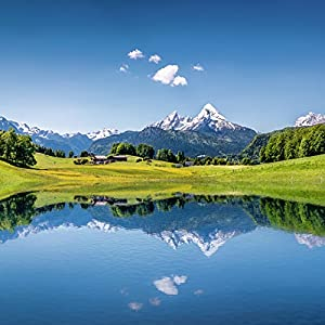 Artland Glasbilder Wandbild Glas Bild Set 4 teilig 120×70 cm Querformat Alpen Berge Bergsee See Natur Landschaft Wald…