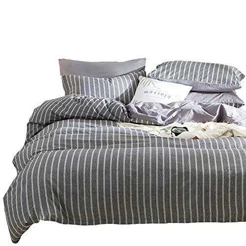Bettwäsche Set Gestreift Streifen Dunkelgrau Weiß King Size 220x 240 Baumwolle Weich Warm Bettbezug mit Reißverschluss und 2 Kissenbezüge 80 x 80 cm -