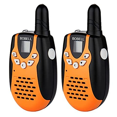 Bobell M602 Black/Orange Handheld Walkie Talkie 8 Channel Up to 2 Mile Range Depending On Environment/Terrain,Belt Clip,Volume Control,Ergonomic Design and Low Battery Indicator. Suitable For Cruise,Hiking,Camping and Other Outdoor