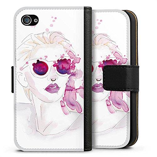 Apple iPhone X Silikon Hülle Case Schutzhülle Abstrakt Mädchen marenkruth Sideflip Tasche schwarz